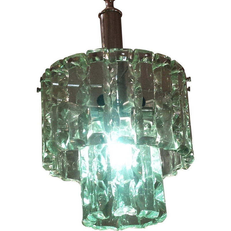 Vintage hanging lamp in glass and chromed metal, edition Fontana Arte - 1960s