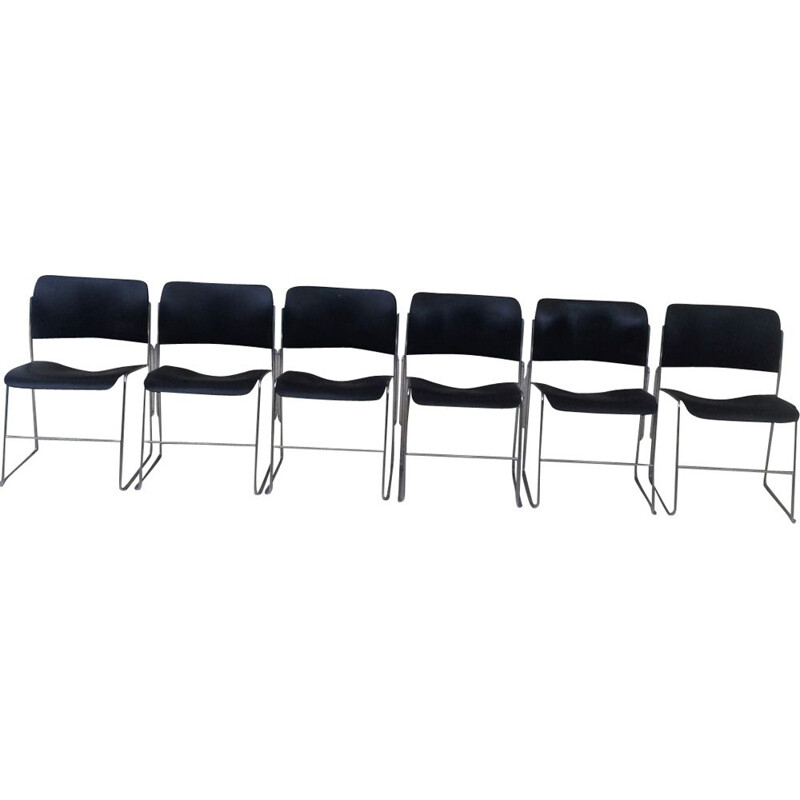 Set of 6 vintage desk chairs 404 by David Rowland