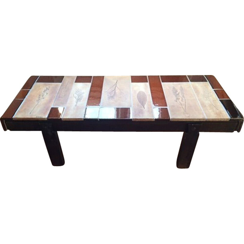 Vintage coffee table with Garrigue tiles by Roger Capron