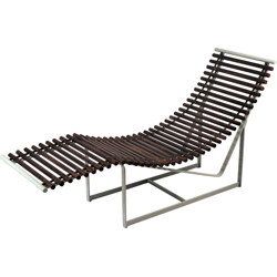 Vintage chaise longue in rosewood and metal - 1980s