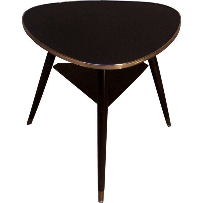 Tripod coffee table in formica, plywood and brass - 1950s - Design ...