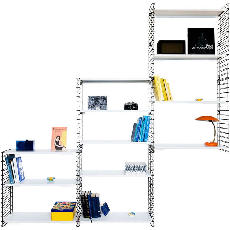Large white and black bookcase by Adrian Dekker for Tomado