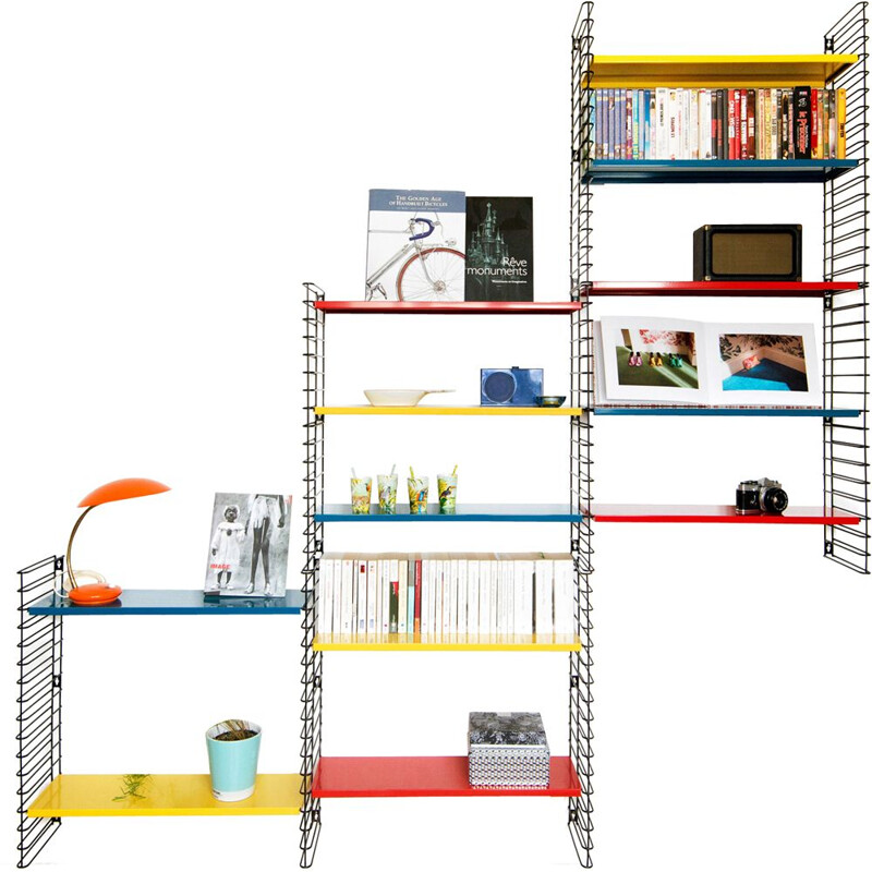 Large multicolored bookcase by Adrian Dekker for Tomado