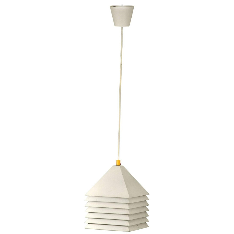 Scandinavian ceiling lamp in white lacquered metal, edition Markaryd - 1960s