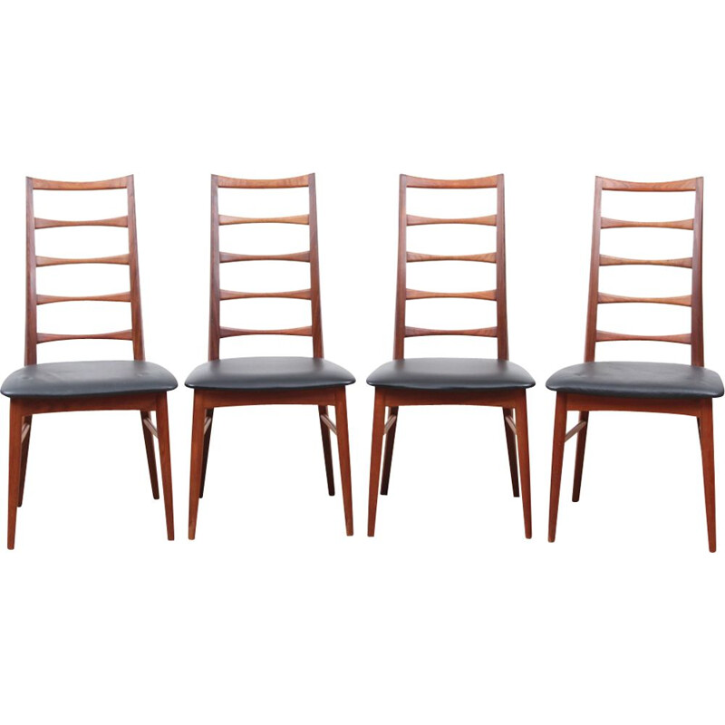 Vintage set of 4 Scandinavian chairs in teak model Lis
