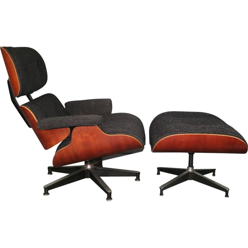 Vintage black lounge chair & ottoman by Eames for Herman Miller