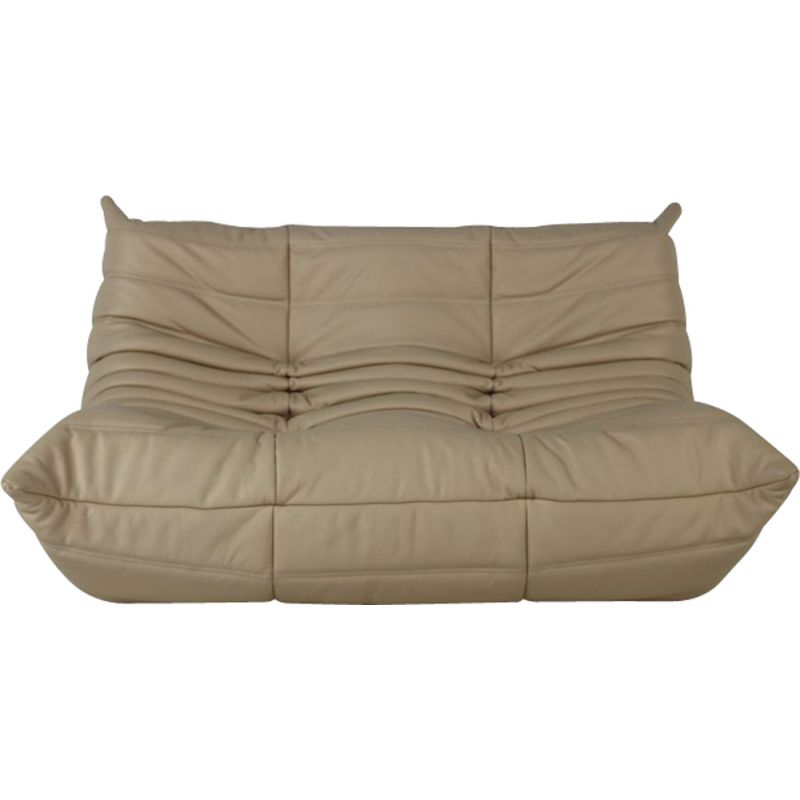 Vintage 2 Seater Sofa Togo In Leather By Michel Ducaroy