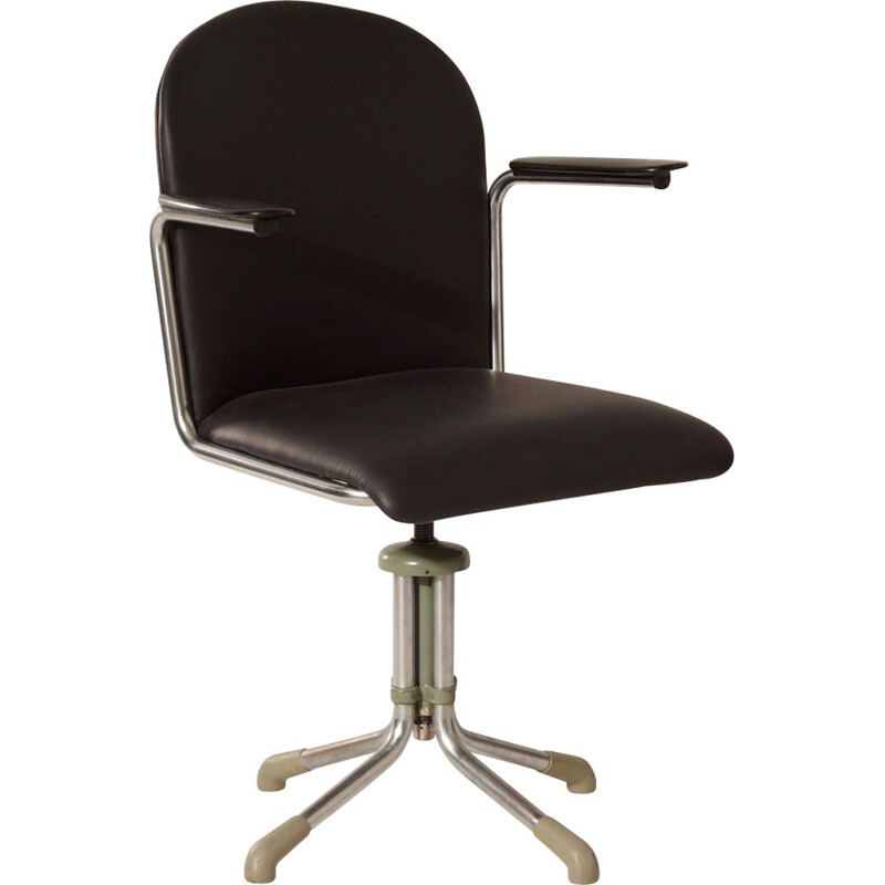 356 Desk Chair in Black Leather by W.H. Gispen