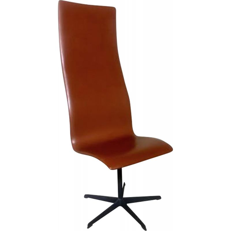 Vintage Oxford chair in leather by Arne Jacobsen