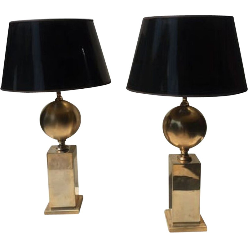 Pair of vintage lamps in golden metal by Barbier and brother
