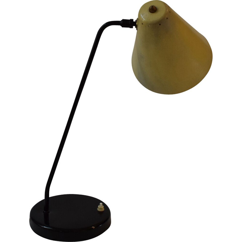 Vintage yellow desk lamp 303 by Jacques Biny for Luminalite
