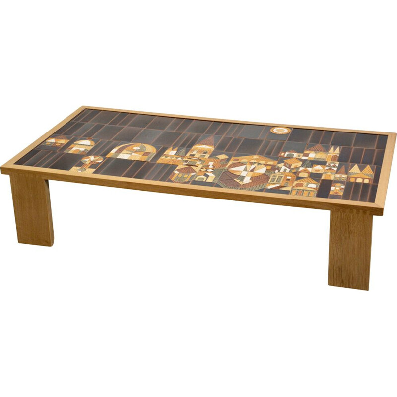 Vintage coffee table in ceramic by Roger Capron