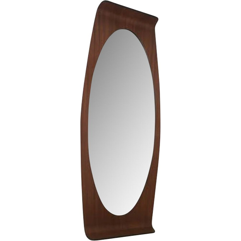 Vintage oval mirror in plywood by Franco Campo & Carlo Graffi for Home Italy