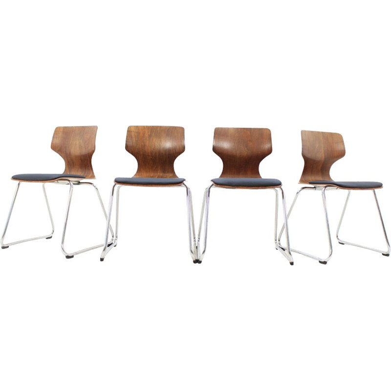 Set of 4 Pagholz chairs by Elmar Flototto