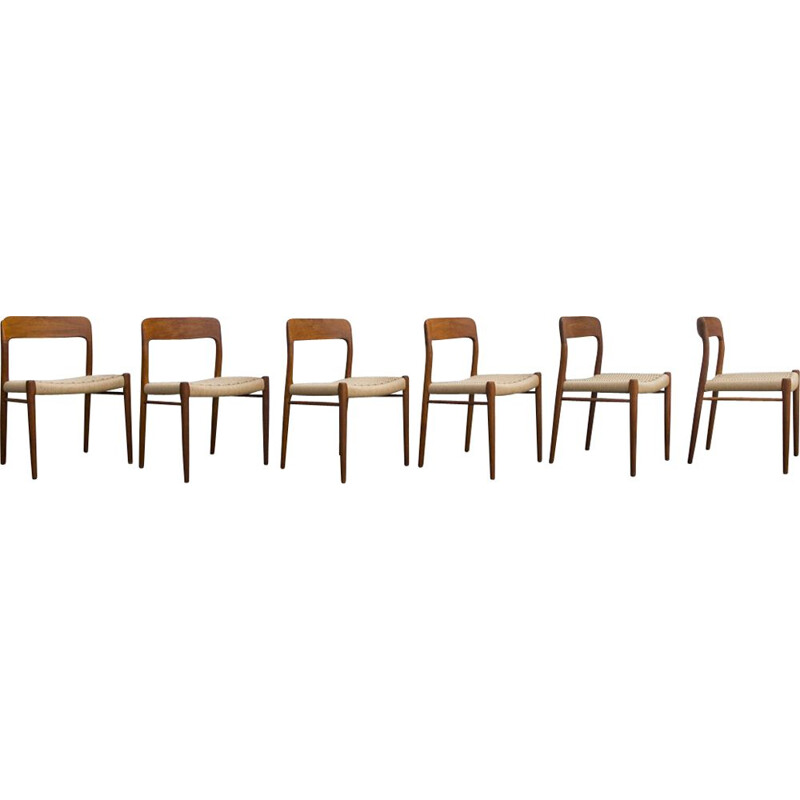 Set of 6 chairs model 75 by Niels Otto Møller