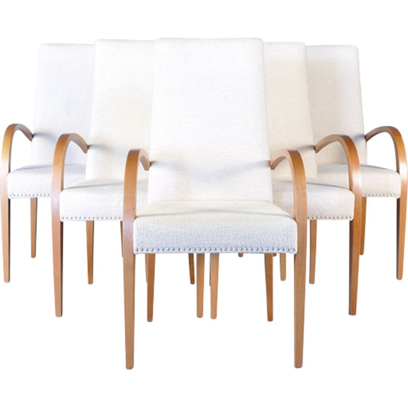 Set of 6 Italian white dining chairs