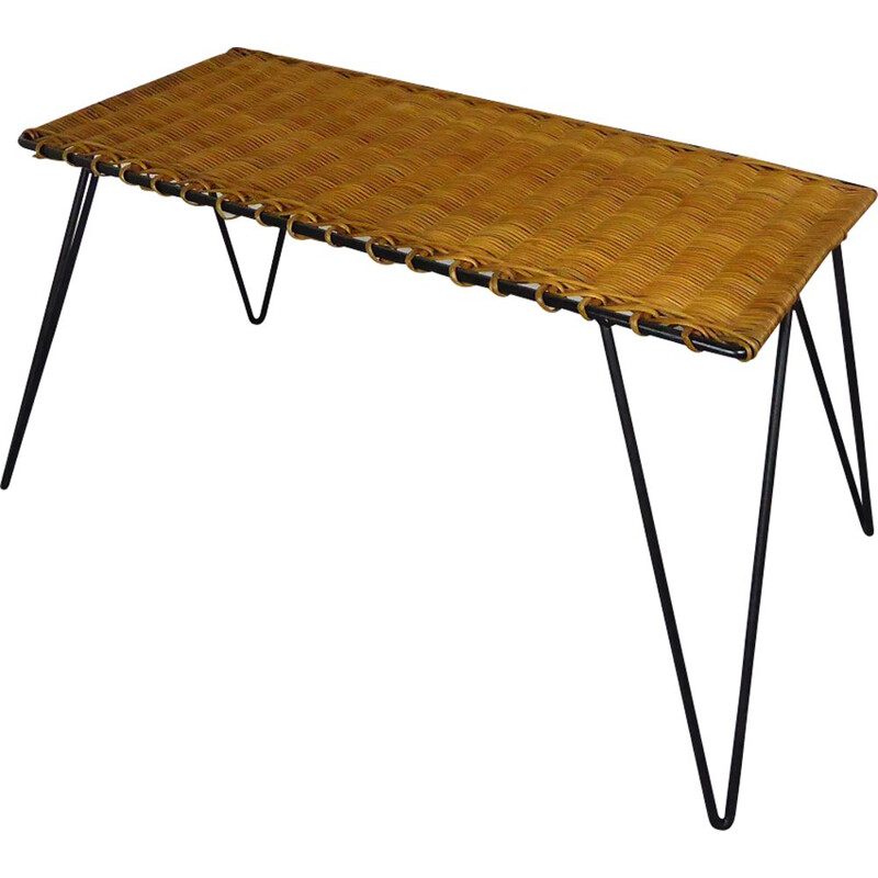 Vintage coffee table in rattan and metal by Raoul Guys