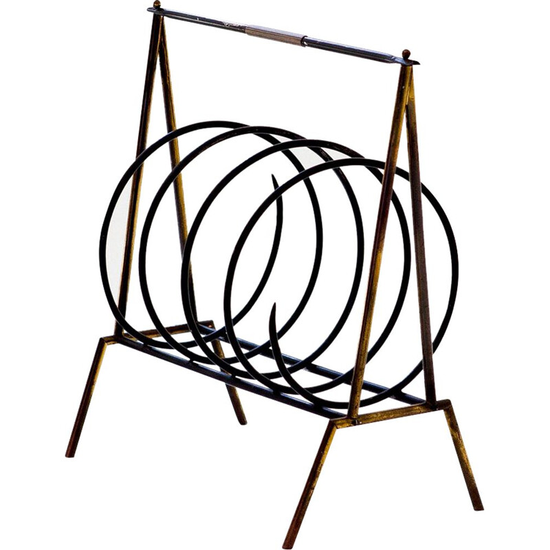 Vintage Italian magazine rack in brass and iron
