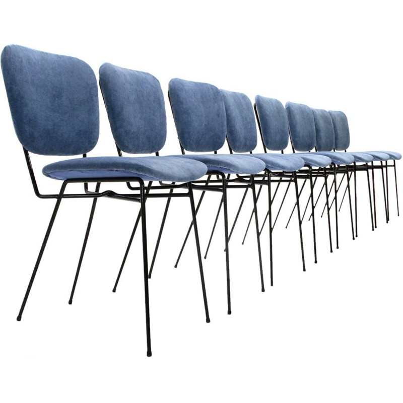 Set of 8 vintage Italian chairs in blue velvet by Doro Cuneo
