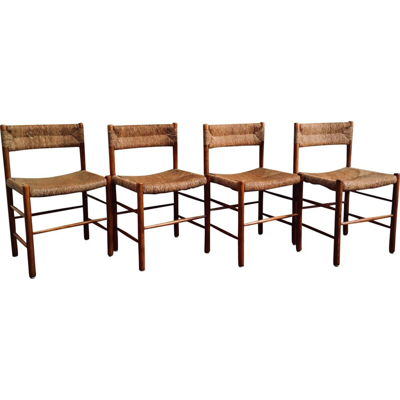 Set of 4 vintage French chairs in wood and straw