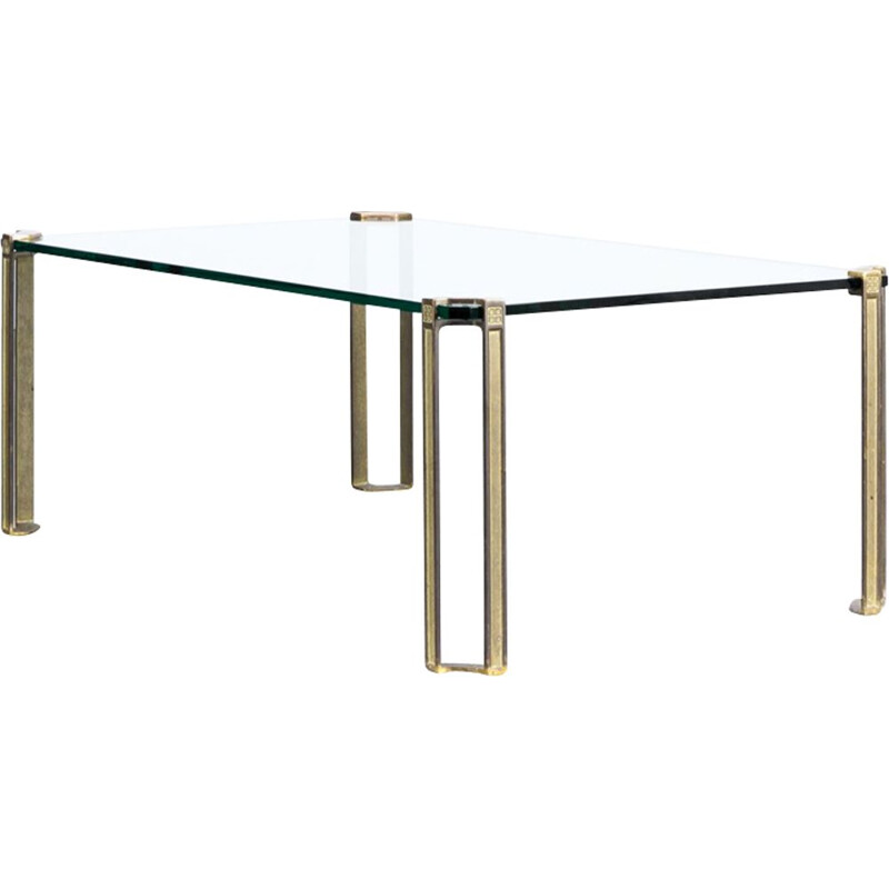 Vintage coffee table in glass and brass by Peter Ghyczy