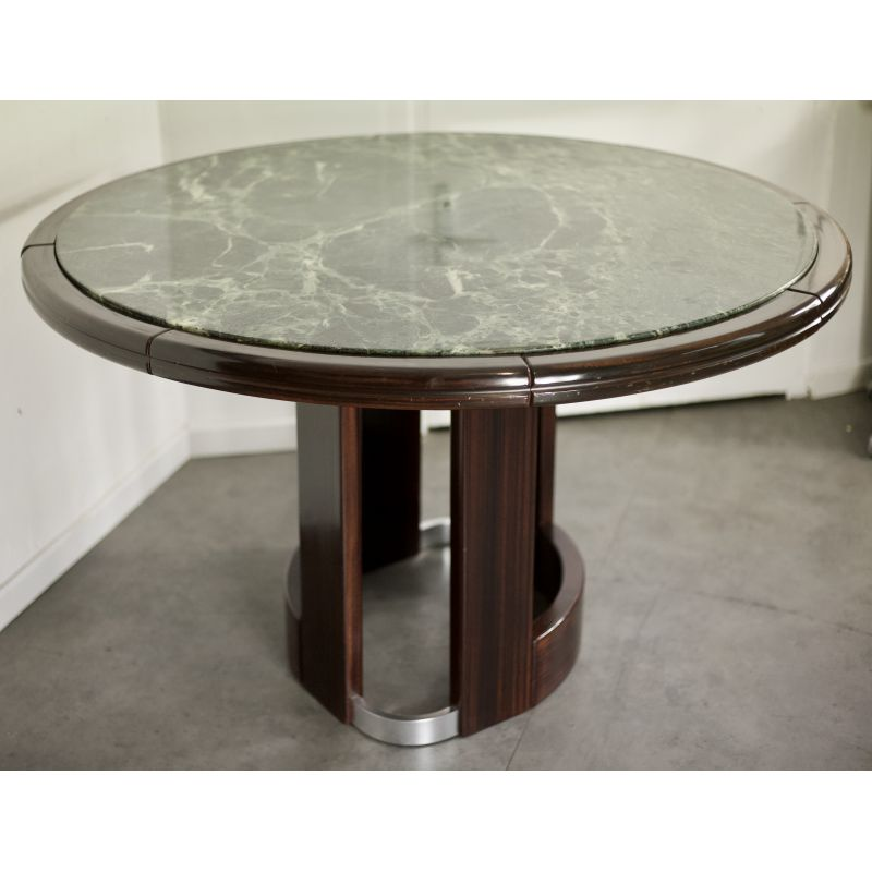 Vintage Round Dining Table In Wood And Green Marble Design Market