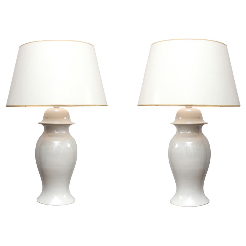 Pair of lamps in white porcelain, Tommaso BARBI - 1980s
