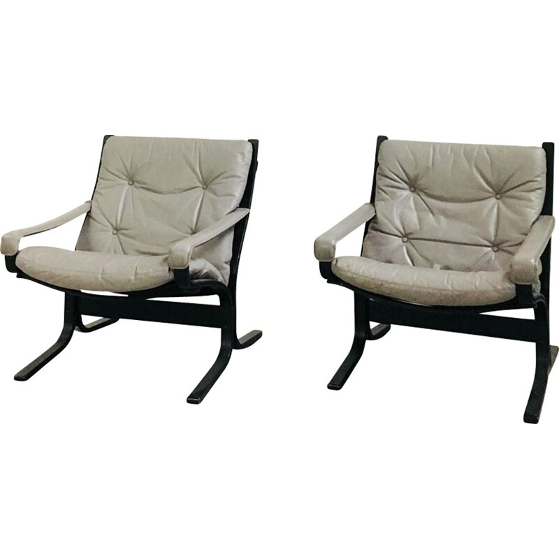 "Vintage set of 2 armchairs ""Siesta"" gray by Ingmar Relling to Westnofa"