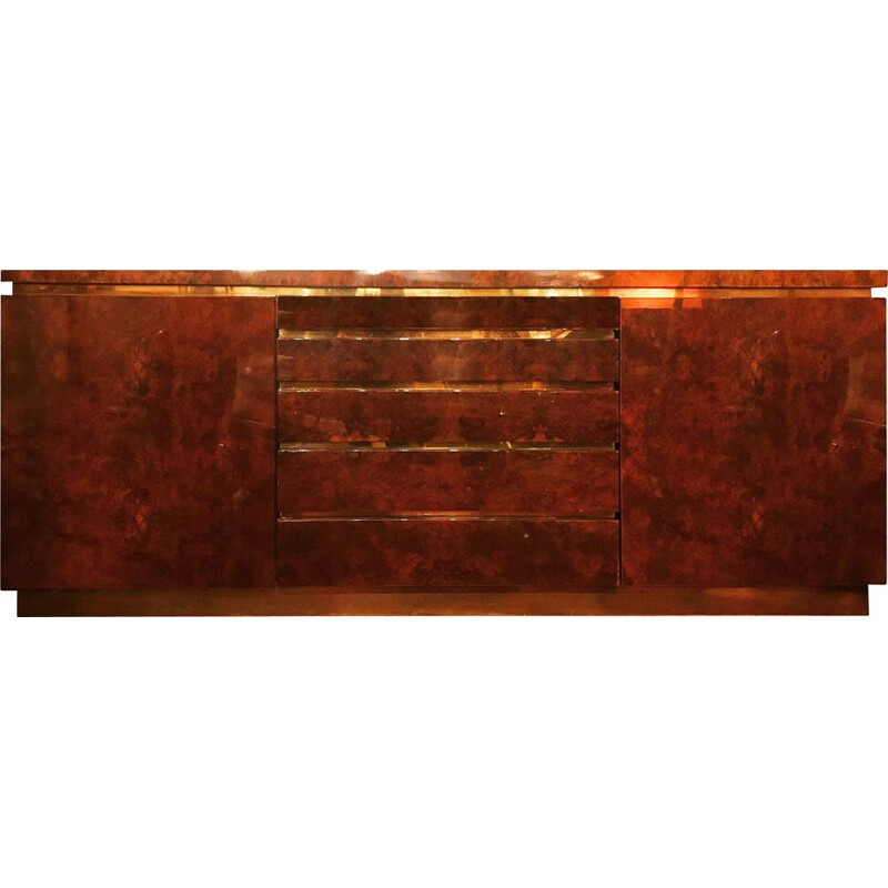 Sideboard in walnut and brass by Jean Claude Mahey