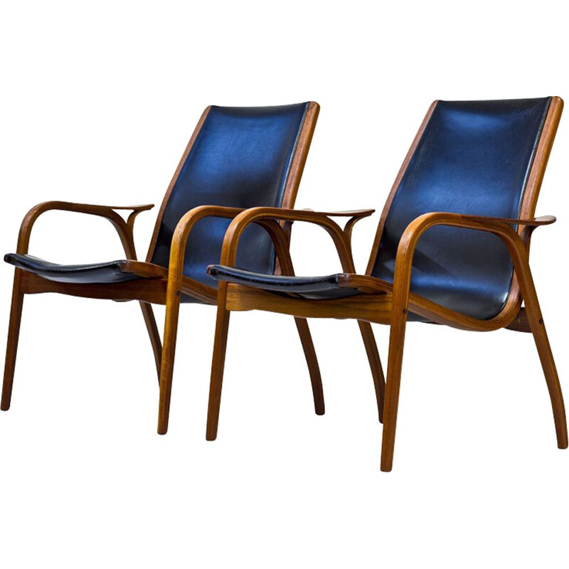 Vintage set of 2 armchairs in teak and black leather