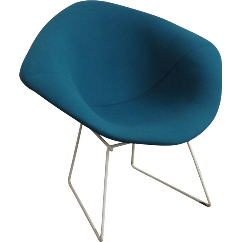 Vintage blue Diamond Chair, Harry Bertoia for Knoll
