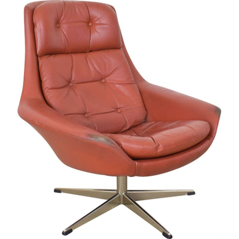 Vintage Danish swivel armchair in leather by H. W. Klein for Bramin