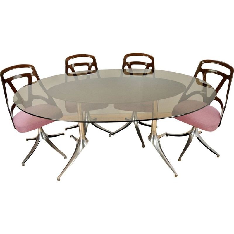 Vintage Italian dining table in brushed aluminium