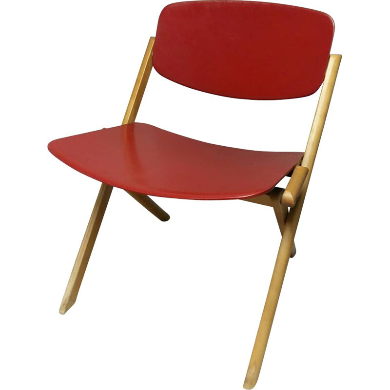 Vintage folding low chair by Jean-Claude Duboys