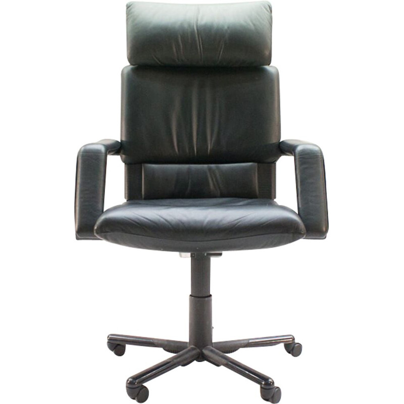 """Vintage office chair """"Figura II"""" in leather by Mario Bellini for Vitra"""