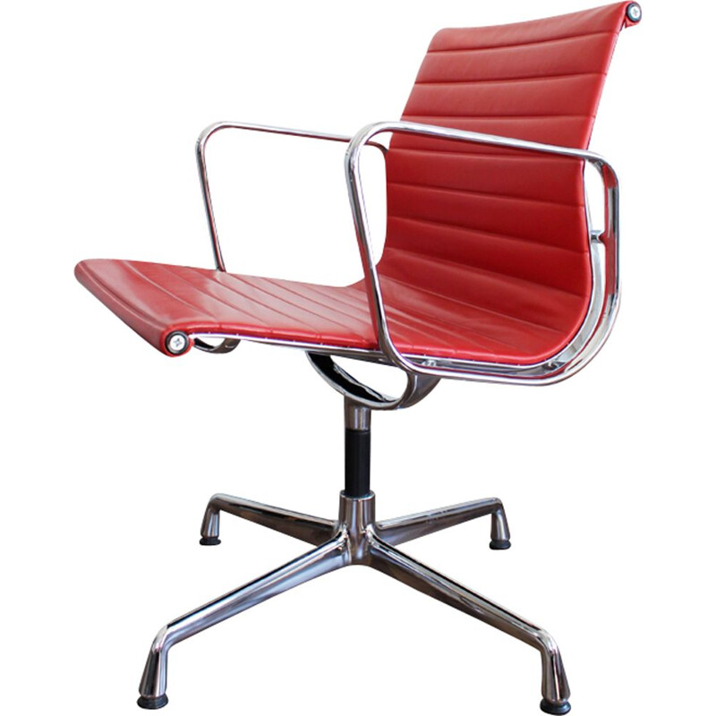Vintage office chair EA 108 in red leather by Eames for Vitra