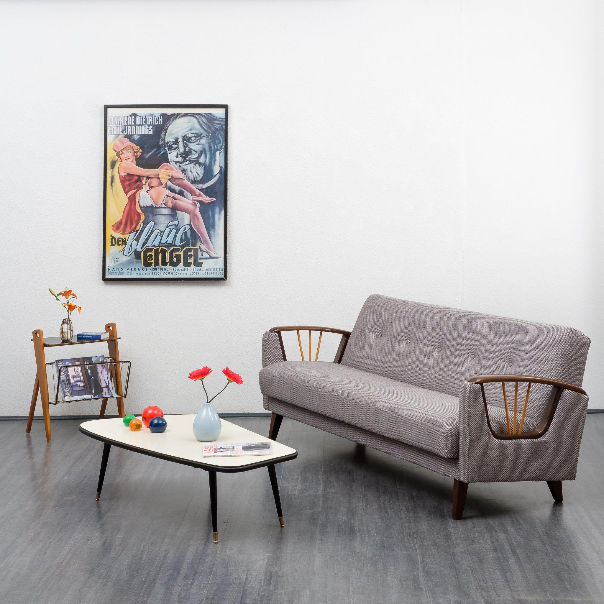 Vintage 3 Seater Grey Sofa Or Fold Out Bed Design Market
