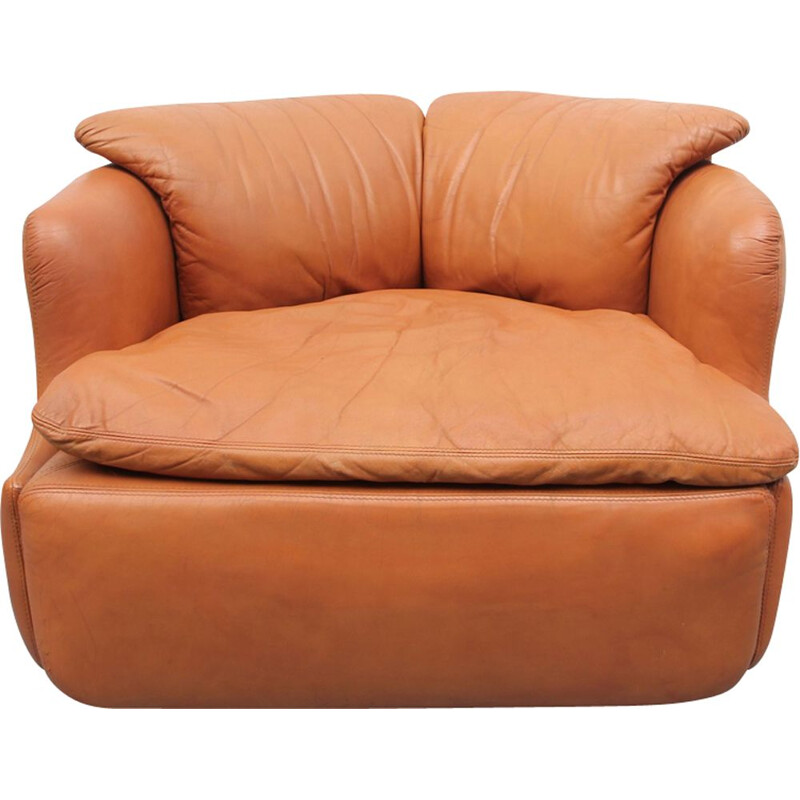 Vintage brown leather chair, Alberto Rosselli for Sapotiti 1970