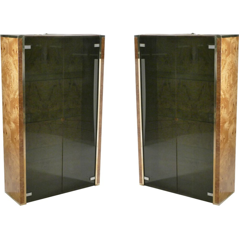 Set of 2 showcases in burr elm and brass Jean-Claude Mahey for Roche Bobois - 1970s