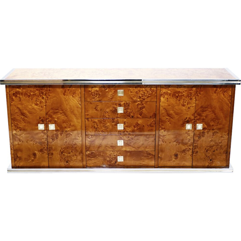 Vintage sideboard in brass and chrome by Willy Rizzo - 1970s