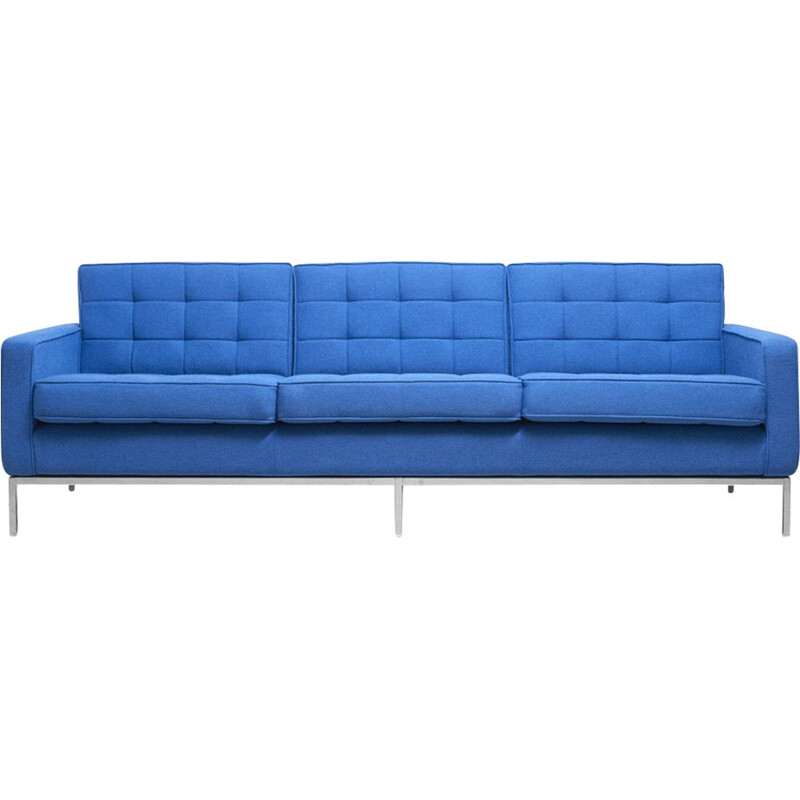 Vintage clear blue 3-seater sofa by Florence Knoll
