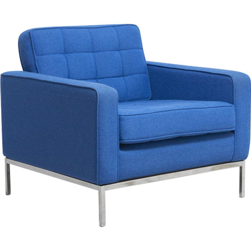 Vintage blue easy chair by Florence Knoll