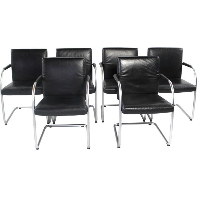 Set of 6 vintage chairs in leather by Antonio Citterio for Vitra