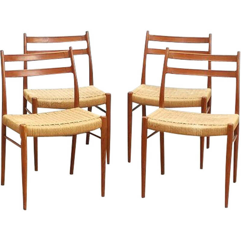 Set of 4 vintage chairs Scandinavian teak Arne Wahl Iversen 1970