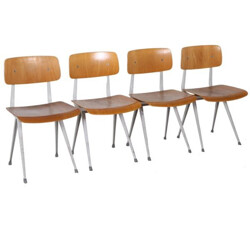 Set of 4 Result dining chairs in wood and metal, Friso KRAMER - 1960s