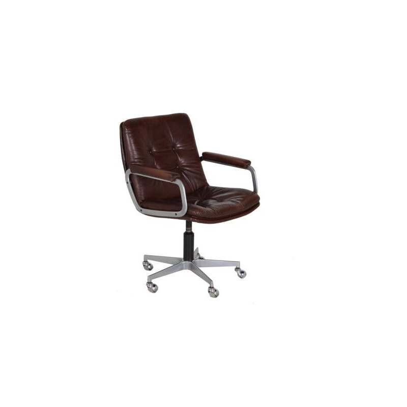 Desk chair in brown leather and cast aluminum, Geoffrey HARCOURT - 1950s