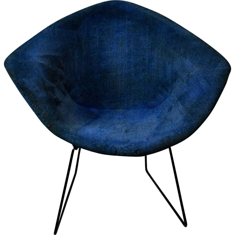 Vintage blue Diamond chair by Harry Bertoia for Knoll