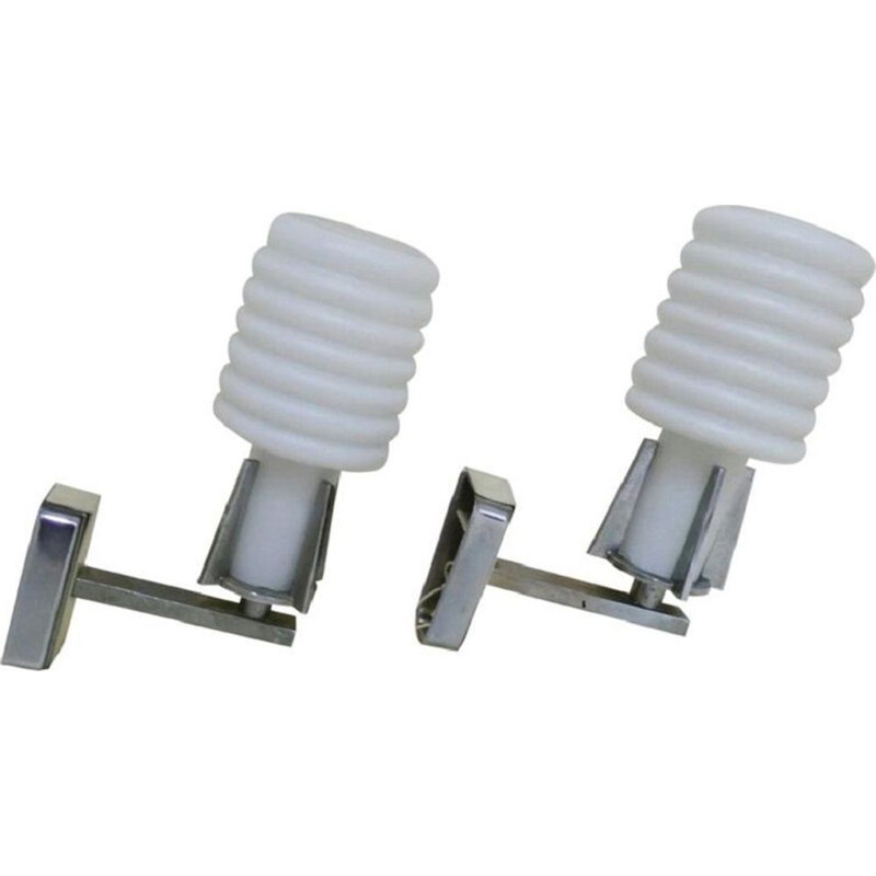 Set of 2 italian white wall lamps