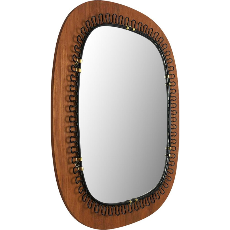Vintage scandinavian mirror in metal & teak 54cm by Josef Frank for Svenskt Tenn