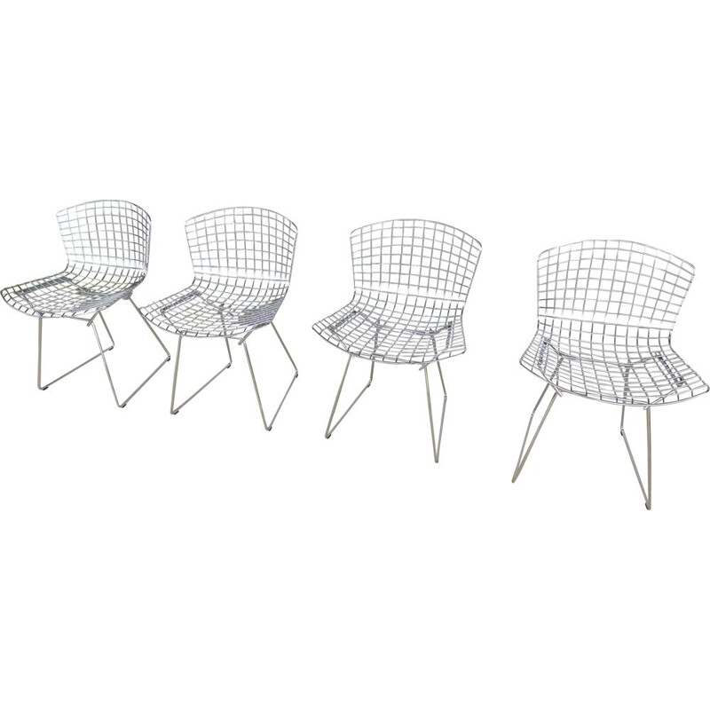 Set of 4 vintage french chairs by Bertoia for Knoll